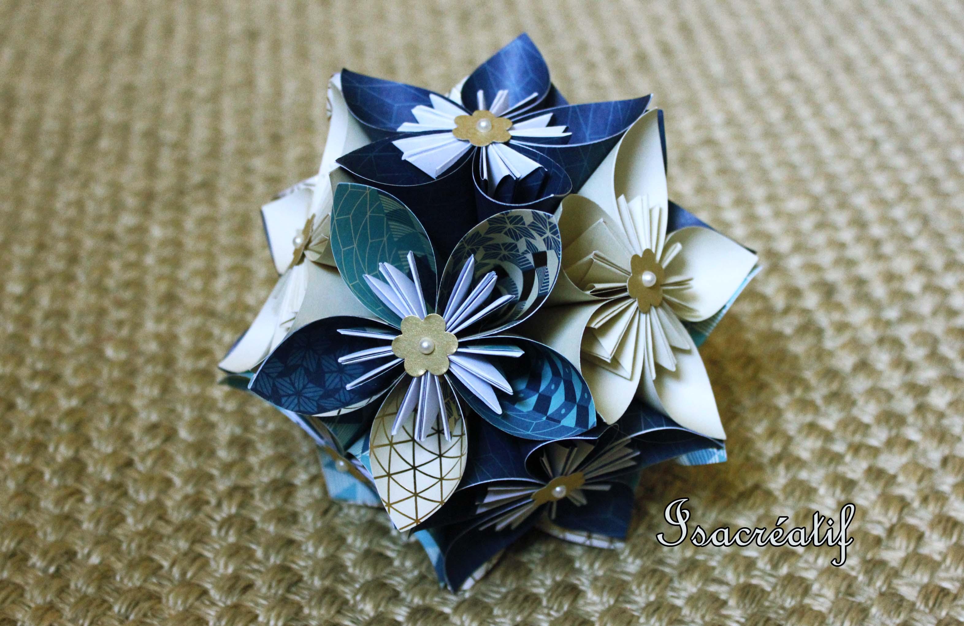 Boule de fleurs origami no l isacr atif - Origami boule de noel ...